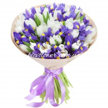 Bouquet of irises and white tulips