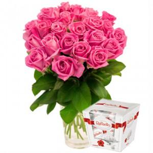 Розы и рафаэлло — Kievflower - Доставка цветов
