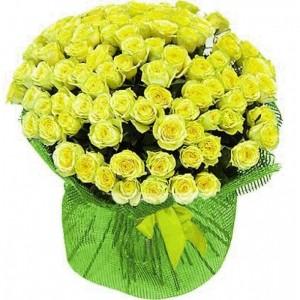 101 жовта троянда — Троянди купити з доставкою в KievFlower.  Артикул: 53747
