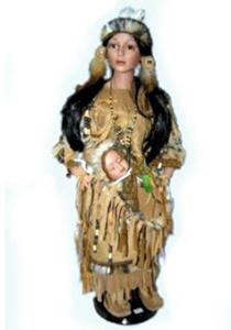 Кукла фарфоровая Индианка 55 см