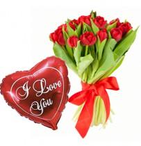 Сердце + 15 тюльпанов