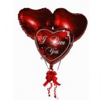 Три сердца фольга 47см (гелий)