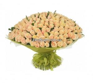 """Букет из 301  кремовой розы """"Моей Королеве"""" — Букеты цветов заказать с доставкой в KievFlower.  Артикул: 44554"""