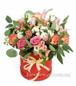 """Шляпная Коробка """"Валенсия"""" — Kievflower - Доставка цветов"""
