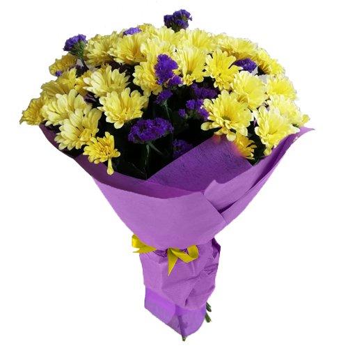 Небольшой букет из желтой хризантемы с доставкой по Красноярску | 500x500
