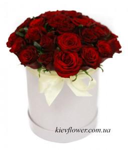 """Шляпная коробка """"Красная Роза"""" — Kievflower - Доставка цветов"""