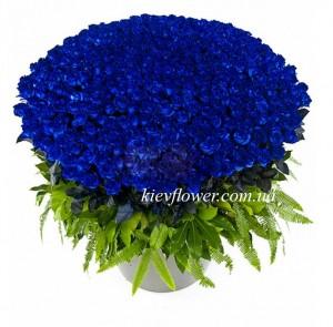 """Корзина из 101 синей розы """"Океан"""" — Букеты цветов заказать с доставкой в KievFlower.  Артикул: 5557"""