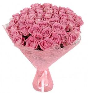 """Букет троянд """"Рожеве Фламінго"""" — Троянди купити з доставкою в KievFlower.  Артикул: 8025"""