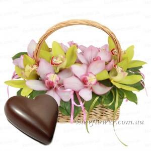 Корзинка с орхидеями + подарок! — Орхидеи заказать с доставкой в KievFlower.  Артикул: 55585