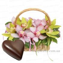 Корзинка с орхидеями + подарок!