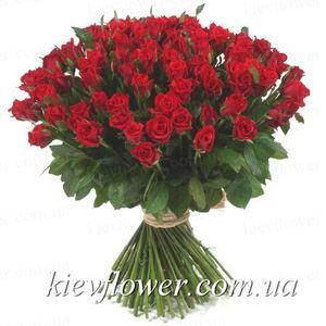 Акция - 101 красная роза — Букеты цветов заказать с доставкой в KievFlower.  Артикул: 101102