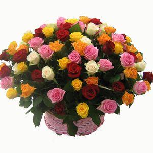 101 роза в корзине — Букеты цветов заказать с доставкой в KievFlower.  Артикул: 7007