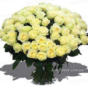 "101 белая роза ""Сеньорита"" — Букеты цветов заказать с доставкой в KievFlower.  Артикул: 7022"