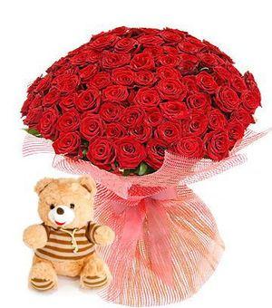 101 роза + Мишка в подарок!!!! — Букеты цветов заказать с доставкой в KievFlower.  Артикул: 0480