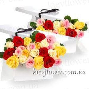 25 разноцветных роз в подарочной коробке — Цветы в подарочных коробках заказать с доставкой в KievFlower.  Артикул: 0655
