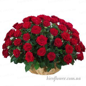 """55 роз """"Гран При"""" в корзине — Букеты цветов заказать с доставкой в KievFlower.  Артикул: 1282"""