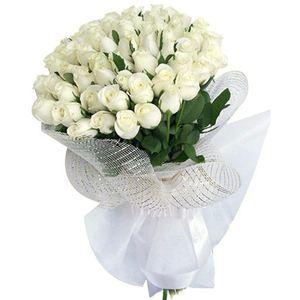 55 белоснежных роз (Эквадор) h 100 cm — Букеты цветов заказать с доставкой в KievFlower.  Артикул: 0635