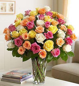 75 разноцветных роз — Букеты цветов заказать с доставкой в KievFlower.  Артикул: 0690