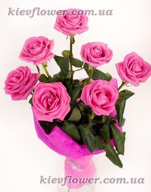 """7 лиловых роз """"Aqua"""" — Букеты цветов заказать с доставкой в KievFlower.  Артикул: 1001"""
