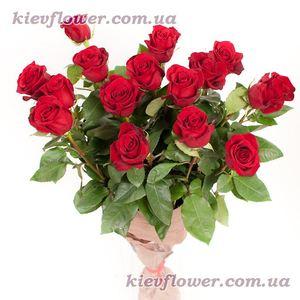 Букет из 15 красных роз (Роза Эквадор) — Букеты цветов заказать с доставкой в KievFlower.  Артикул: 1213