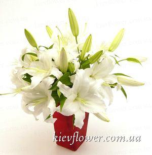 Белые лилии — Букеты цветов заказать с доставкой в KievFlower.  Артикул: 0565