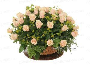Корзина из 51 кремовой розы — Букеты цветов заказать с доставкой в KievFlower.  Артикул: 7018