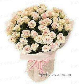 """Букет """"Фламинго"""" 51 кремовая  роза — Букеты цветов заказать с доставкой в KievFlower.  Артикул: 0616"""