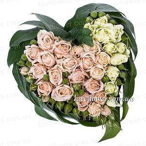"""Сердце """"Самой прекрасной девушке на свете!"""" — Букеты цветов заказать с доставкой в KievFlower.  Артикул: 0815"""