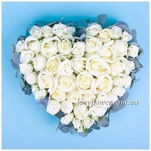 """Сердце """"Признание в любви"""" — Букеты цветов заказать с доставкой в KievFlower.  Артикул: 0817"""