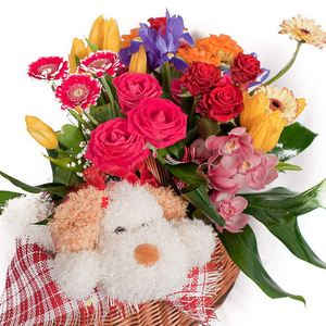 """Цветочная корзинка """"Игрушка"""" — Корзины цветов заказать с доставкой в KievFlower.  Артикул: 0791"""