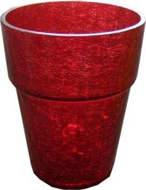 Красный прозрачный горшок для цветов — Букеты цветов заказать с доставкой в KievFlower.  Артикул: 012203
