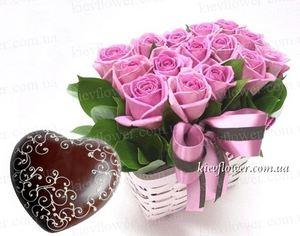 """Композиция """"Феличита"""" + Шоколадное сердце — Букеты цветов заказать с доставкой в KievFlower.  Артикул: 0502"""