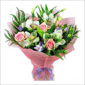 """Букет из роз и орхидей """"Ева"""" — Букеты цветов заказать с доставкой в KievFlower.  Артикул: 7780"""