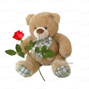 Мишка с розочкой — 14 февраля заказать с доставкой в KievFlower.  Артикул: 06013