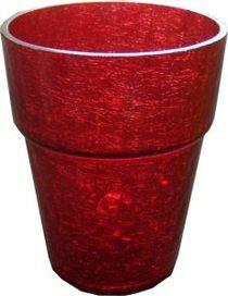 Красный прозрачный горшок для цветов